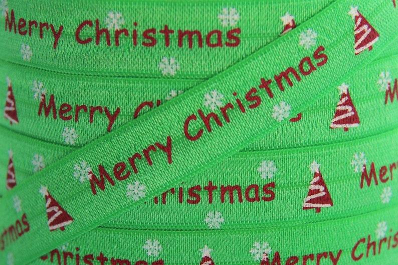 "3 yards red Merry Christmas print 5//8/"" fold over elastic FOE"