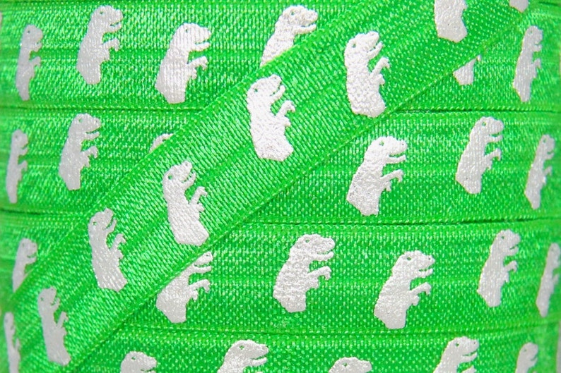 SALE Green and Silver Metallic T-Rex Print Fold Over Elastic  image 0