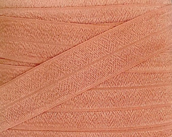 """One Inch Peach Fold Over Elastic - Light Pink 1"""" Elastic For Headbands and Sewing Projects - FOE - Headband Supplies"""