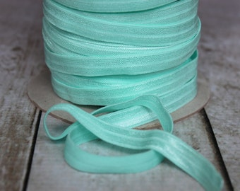 Aqua Fold Over Elastic - Elastic For Baby Headbands and Hair Ties - 5 Yards of 3/8 inch FOE