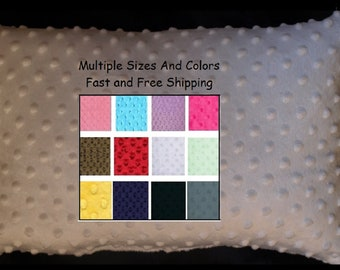 Minky Toddler Pillow Case Travel Pillow Cover My Travel cover 14 x 20, 14x19, 12x18, and more sizes available.