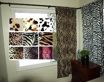 Animal Print Curtain Set Safari Curtains VARIOUS SIZES