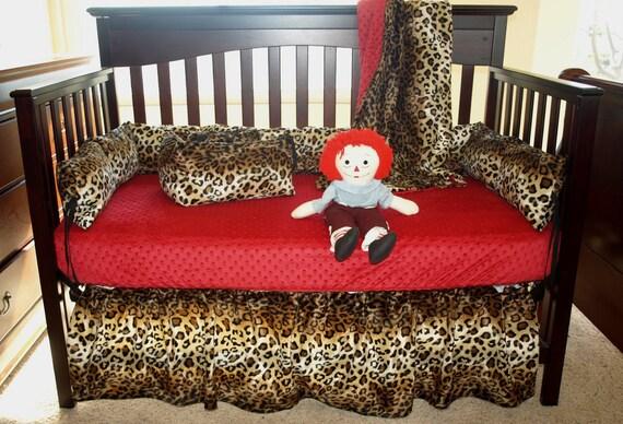 Leopard Print Crib Bedding Set, Cheetah Print Baby Bedding Set