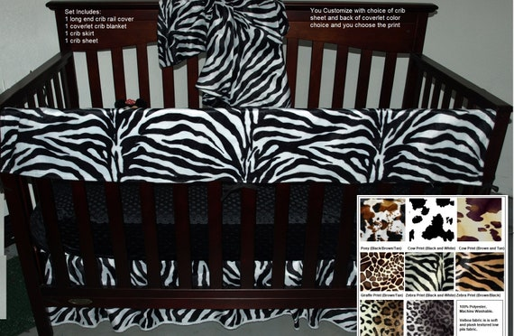 Animal Print Bumperless Baby Bedding, Cheetah Print Baby Bedding Set