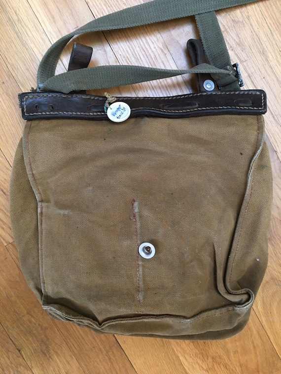 Vintage 1930s-40s Cotton Canvas Military Bag
