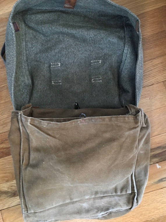 Vintage 1930s-40s Cotton Jaspe Military Bag