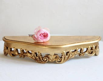 French Vintage Large Gilded Wood Consul/Wall Shelf/Sconce Circa 1975 /  Époque Vintage
