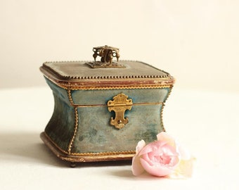 Rare And Beautiful French  Louis Phillippe Antique Jewelry Box/Bon Bon Box/Casket In Antique Blue Faded Velvet/ Brass Fittings And Gold Leaf