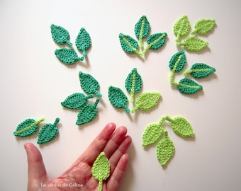 Leaves - set of 12 - crocheted in cotton