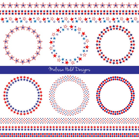 Red White Blue Frames Borders Digital Clipart Etsy