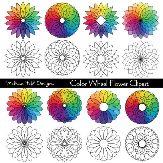 Color Wheel Flower Digital Clipart Etsy