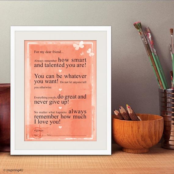 A3 Voor Mijn Lieve Vriend Positief Denken Motiverende Poster Inspirerende Liefde Citaat Graduation Gift Poster Wanddecoratie Po A3 021 Or