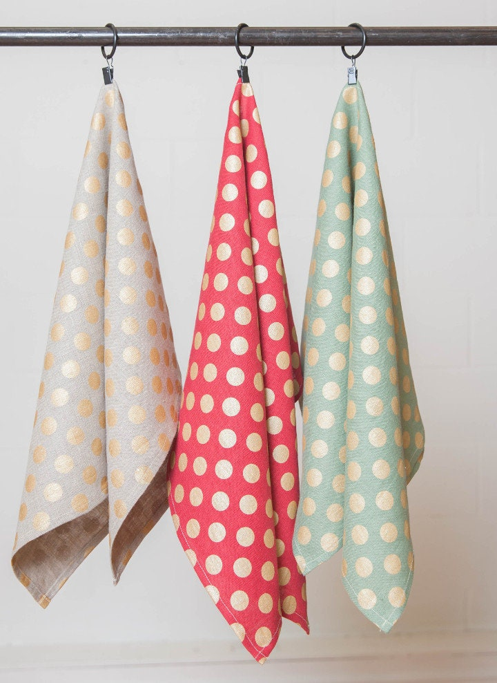 Set Of 3 Linen Polka Dot Kitchen Towels Combo Set Linen Polka Etsy