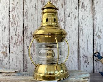 Vintage Brass Ship US Anchor Lantern - Polished Finish - Nautical Oil Lamps - Boat Light - Nautical Maritime Decor