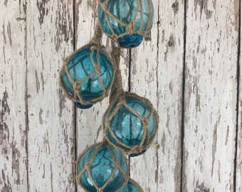 "5 - 2"" Aqua Glass Fishing Floats On Rope - Nautical Fish Net Buoy Ball - Beach Decor - Light Blue, Teal w/ Rope Netting"