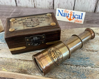 Victorian Brass Telescope w/ Wooden Box - Antique Finish - Nautical Maritime Spyglass - Hand Held Monocular - Nautical Christmas Gift