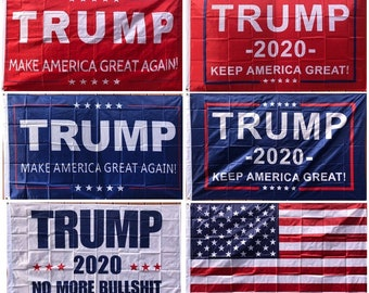 3' x 5' Trump Flag - Make / Keep America Great Again MAGA, 2020, No More BS, USA American
