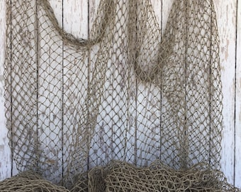 Authentic Fish Netting - 10 ft x 10 ft Knotted - Vintage Old Used Fishing Net - Recycled Commercial Fisherman's Fishnet -Nautical Maritime