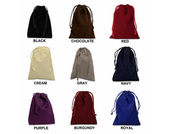 "3""x4"" Velvet Drawstring Bag - Small Velour Jewelry Pouch - Protective Gift Bag - Rosary Mojo Sack - Black, Red, Gray, Cream, Purple, Blue"