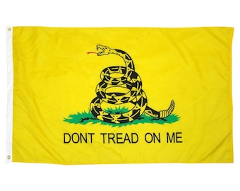 Dont Tread On Me Flag - 3 ft x 5 ft - Yellow Tea Party Culpepper Rattlesnake - 3x5 Don't Tread Gadsden Snake