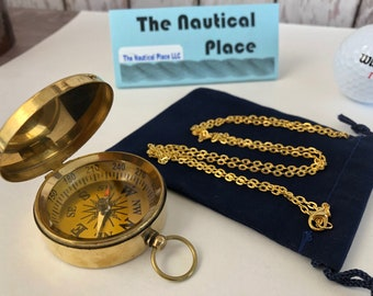 "Brass Compass w/ Lid - w/ Optional 27"" Chain & Velour Bag - Old Vintage Antique Mini Pocket Style Necklace - Nautical - Christmas Gift"