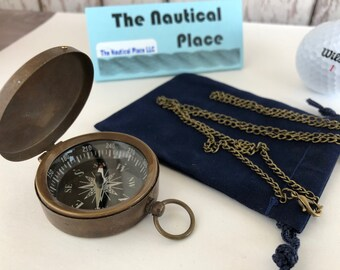 "Antique Finish Brass Compass w/ Lid - w/ Optional 27"" Chain & Bag - Old Vintage Mini Pocket Style - Nautical Necklace - Christmas Gift"