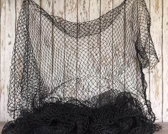 Old Used Fishing Net - 10 ft x 10 ft BLACK Knotted- Vintage Fish Netting - Great For Crafts, Golf, Batting Cage - Nautical Maritime Decor