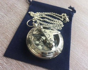"Silver Finish Brass Sundial Compass w/ Optional 27"" Chain & Bag - Vintage Antique Pocket Style - Nautical Necklace - Christmas Gift"