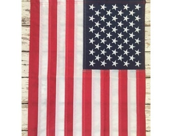 "American Garden Flag - Embroidered - 12"" x 18"" Nylon w/ Sleeve - Sewn Stars - United States of America - Small USA Banner - Handmade"