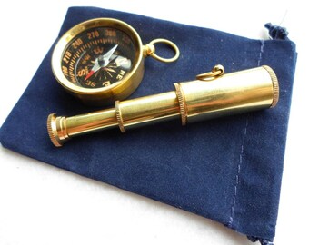 "Brass Pocket Telescope & Compass Gift Set w/ Velour Bag - w/ Optional 27"" Chains - Miniature Nautical Necklace Pendant - Groomsmen Gift"
