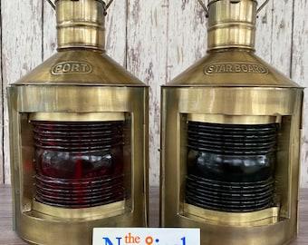Port & Starboard Lanterns - Antique Brass Finish - Nautical Oil Lamps - Red, Green Fresnel Lenses -  Ship Light