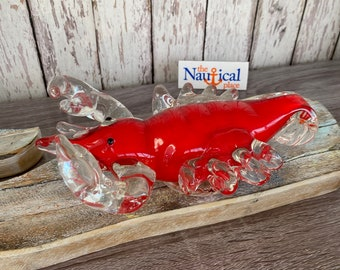 Glass Lobster Figurine / Hand Blown - Nautical Paperweight -  Coastal, Tropical, Beach Decor - Tabletop Decorations