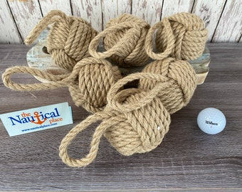 "3.5"" Monkey Fist Knot Ball w/ Hanger Loop - Handmade Jute Rope Sailor Knot - Natural Tan - Nautical Decoration For Bowls - Monkeyfist"