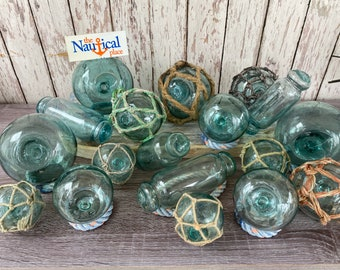 "2.5"" - 4"" Japanese Glass Fishing Floats - Old Vintage Antique Japan Netted Net Buoy Ball - Aqua, Green, Blue Shades - Single, Set of 5 or 10"