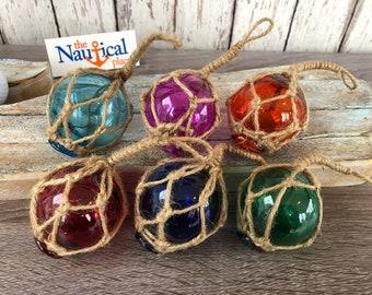 "6 - 2"" Glass Fishing Floats- Nautical Coastal Beach Fish Net Buoy Decor - Purple, Orange, Blue, Aqua, Red, Green Ball w/ Rope Netting"