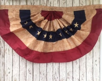 4 ft. American Flag Bunting- Embroidered Tea Stained Fan Flag - Sewn Stars - United States of America - USA US