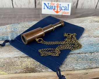 "Antique Finish Brass Pocket Telescope w/ Optional 27"" Chain & Bag - Mini Hand Held Spyglass - Small Nautical Miniature - Christmas Gift"