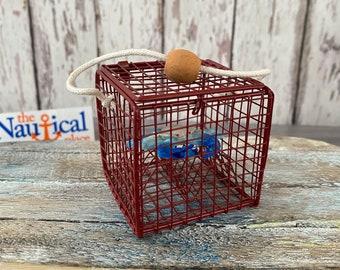 Miniature Crab Pot - Crab Trap Ornament w/ Bluecrab, Rope, & Cork - Top Opens - Nautical Christmas Tree Decor
