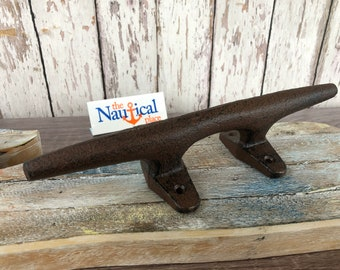 "10"" Large Cast Iron Cleat - Nautical Marine Boat Dock Chock - Handle Hook - Rustic Drawer Pull"