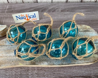 "2"" Aqua Glass Fishing Floats- Light Blue Turquoise Nautical Beach Decor - Fish Net Buoy Ball w/ Rope Netting - Christmas Ornaments"