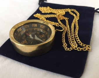 "Brass Pocket Compass w/ 27"" Chain & Velour Bag - Necklace Pendant - Old Vintage Antique Style - Nautical Maritime - Christmas Gift"