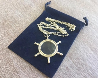"Silver Finish Brass Ship Wheel Magnifying Glass w/ Optional 27"" Chain & Bag - Nautical Style Magnifier Necklace - Christmas Gift"