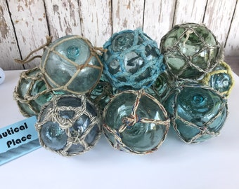 "3"" - 3.5"" Japanese Glass Fishing Floats - Old Vintage Antique Japan Net Buoy - Aqua, Green & Blue Shades - Single, Set of 5 or 10 - Netted"