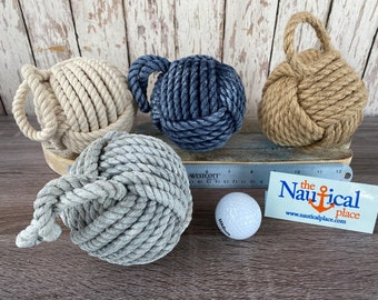 "4"" Monkey Fist Knot Ball w/ Hanger Loop - Handmade Jute Rope Sailor Knot - Blue, Natural Tan, White - Nautical Decor For Bowls - Monkeyfist"