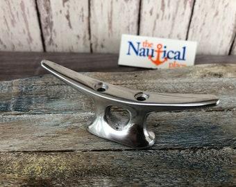 Small Aluminum Cleat w/ Chrome Finish - Nautical Marine Boat Dock Chock - Hanger Handle Hook