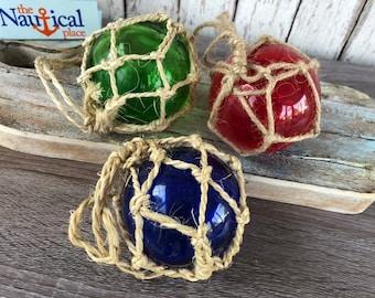 "3 - 3"" Glass Fishing Floats- Nautical Coastal Beach Fish Net Buoy Decor - Red, Blue, Green Ball w/ Rope Netting"