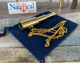 "Brass Pocket Telescope w/ Optional 27"" Chain & Velour Bag - Mini Hand Held Pirate Spyglass - Nautical Necklace - Christmas Gift"