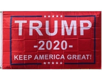 3'x5' Trump Flag - Red 2020 - Keep America Great - Elect Donald For USA President - US