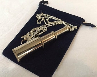 "Silver Finish Brass Pocket Telescope w/ Optional 27"" Chain & Velour Bag - Miniature Hand Held Nautical Spyglass - Christmas Gift"