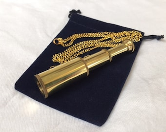 "Brass Pocket Telescope Necklace w/ 27"" Chain & Velour Bag - Mini Hand Held Pirate Spyglass - Nautical - Christmas Gift"